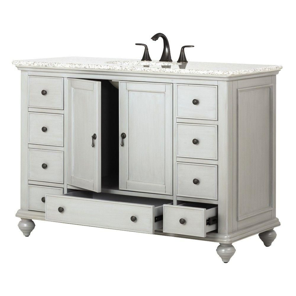 Web Image Gallery Home Decorators Collection Newport in W x in D Single Vanity in Pewter with Granite Vanity Top in Grey with White Basin
