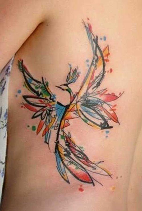 phoenix tattoo on rib ink watercolor phoenix tattoo. Black Bedroom Furniture Sets. Home Design Ideas