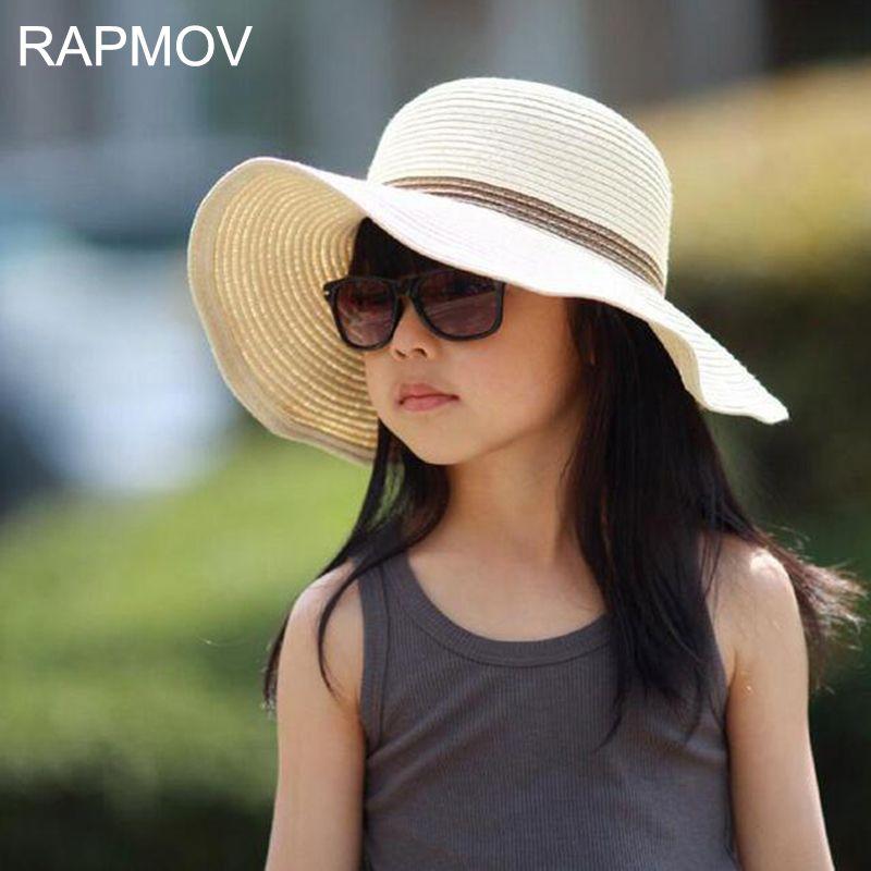 Floppy Flower Decor Sun Children Girls Kids Baby Sunhat Cap Wide Brim Hat Beach