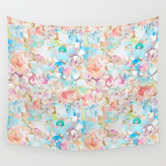 Watercolor Love Wall Tapestry by All Is One #tapestry #tapestries #wallhanging #decor #room #home #illustration #painting #print #prints #watercolor #pastel #pretty #floral #flowers #design #wall #livingroom #bedroom #xoxo #gifts