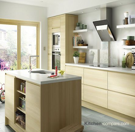 Pin By Kitchen Compare On Oak Effect Handleless Kitchens
