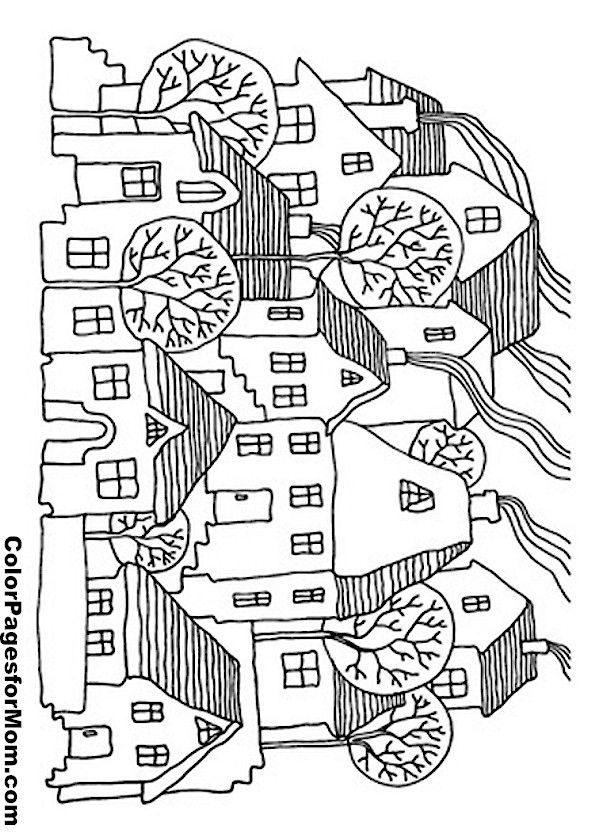 House Coloring Page 12 | free sample | Join fb grown-up coloring ...