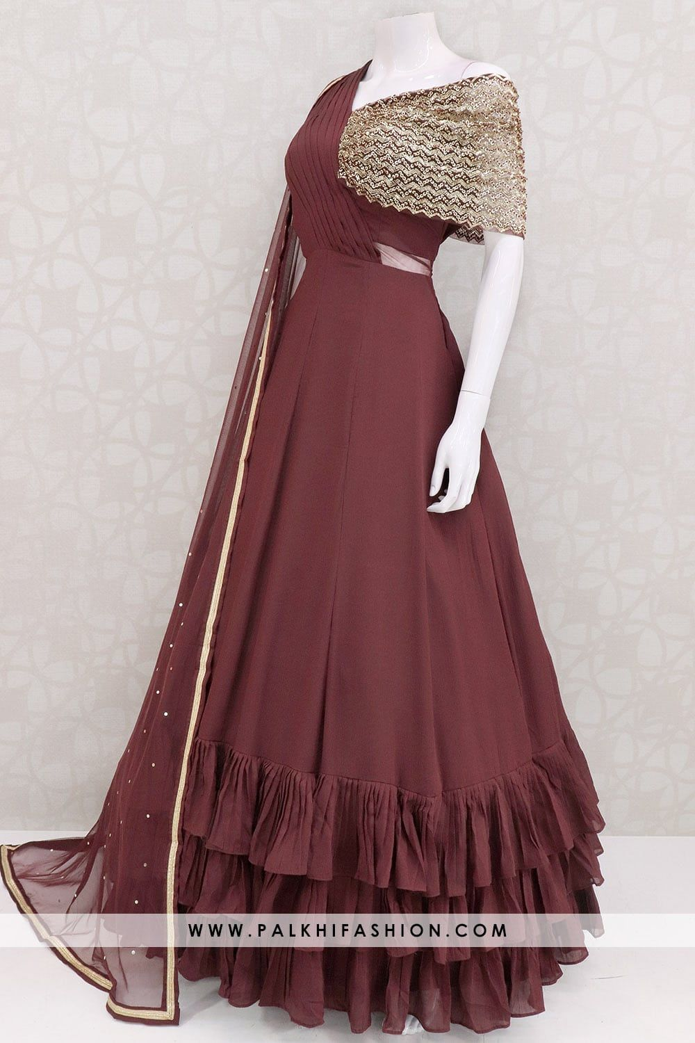 Designer Wine Colored Indian Outfit With Elegant Work & Style #indiandesignerwear