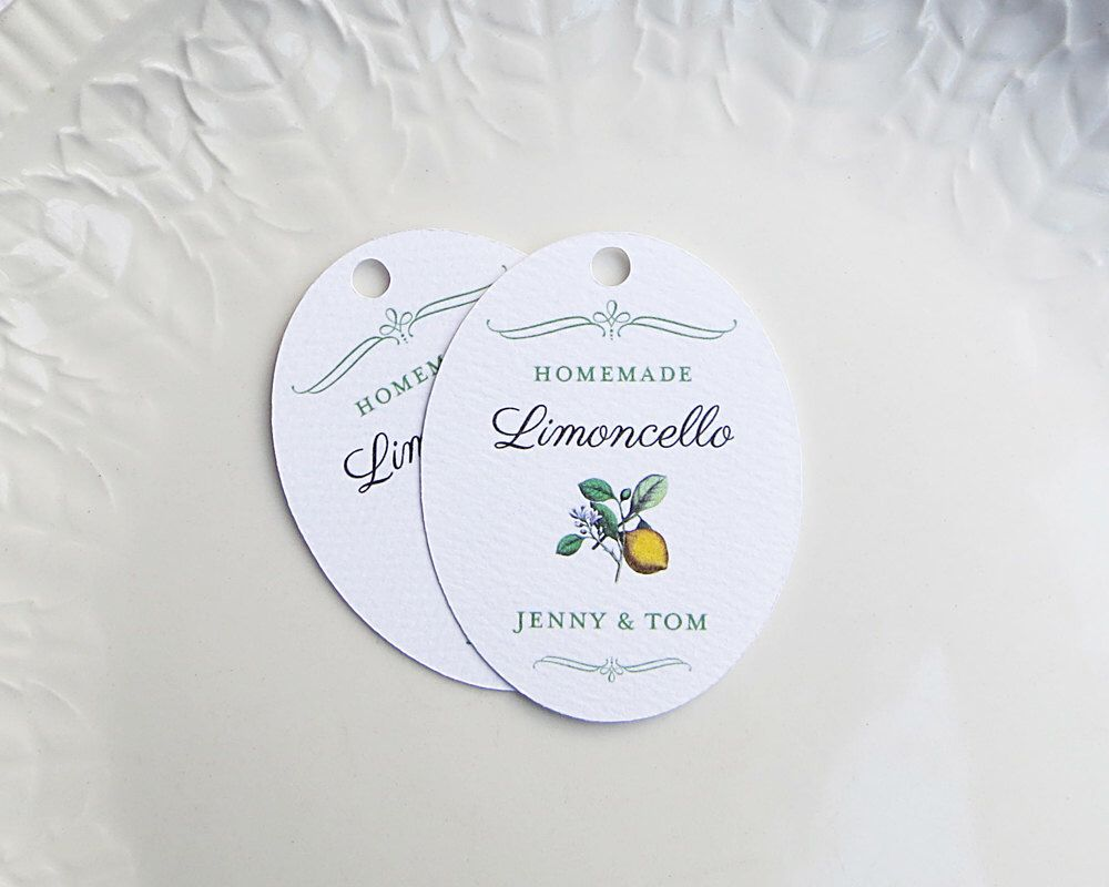 limoncello tag, wedding favor tag, lemon product label, Hause ideen