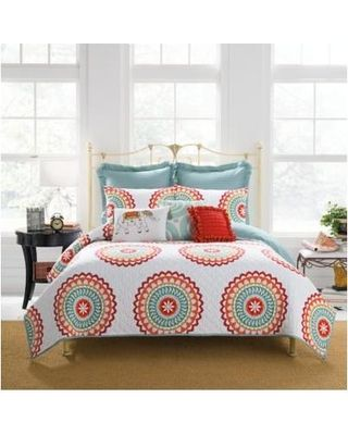 Anthology Bungalow Reversible King Quilt In Coral White Multi From