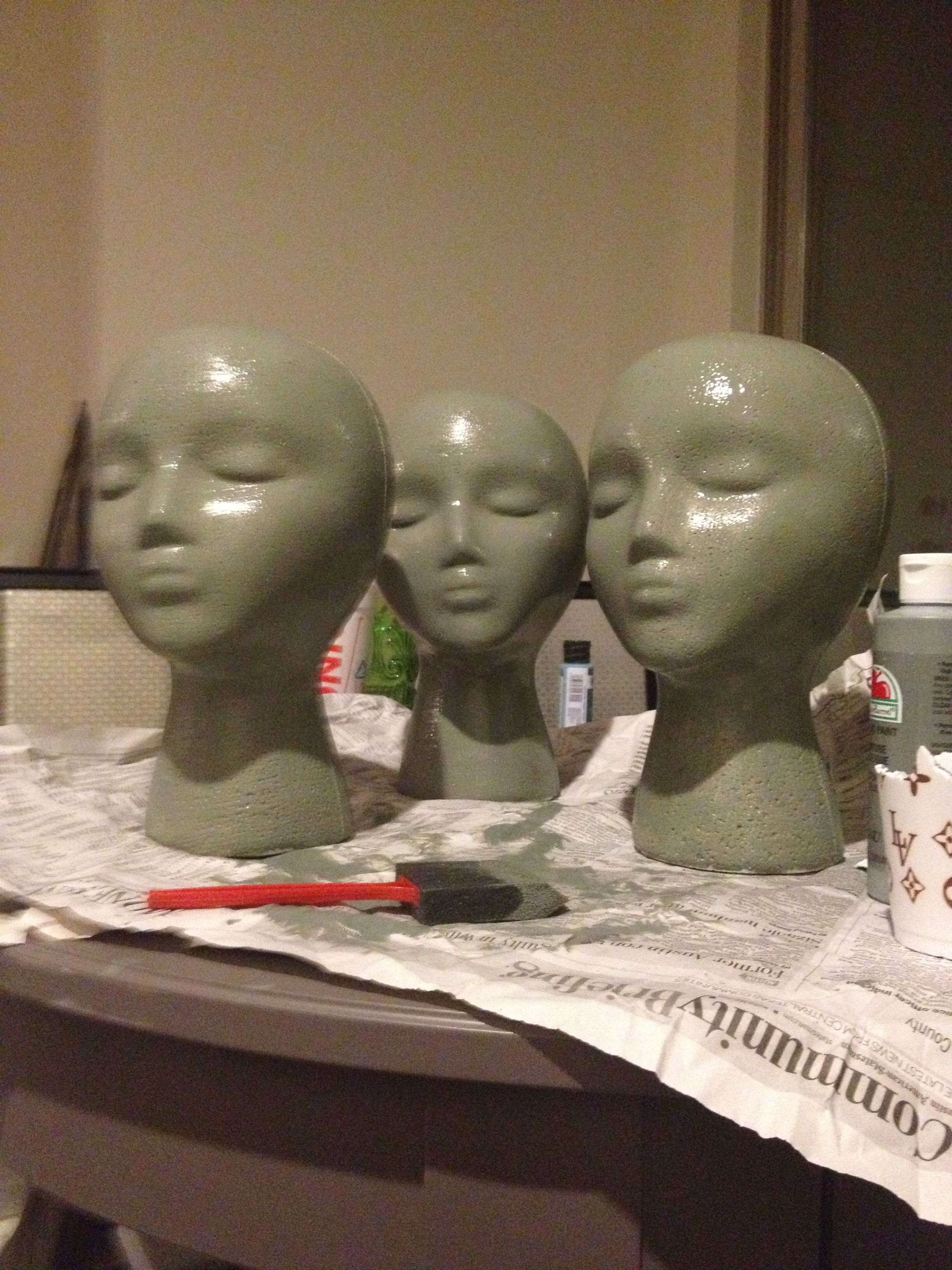 Painting Styrofoam Heads For Hat Display Hat Display Ideas Craft Show Displays Craft Show Ideas