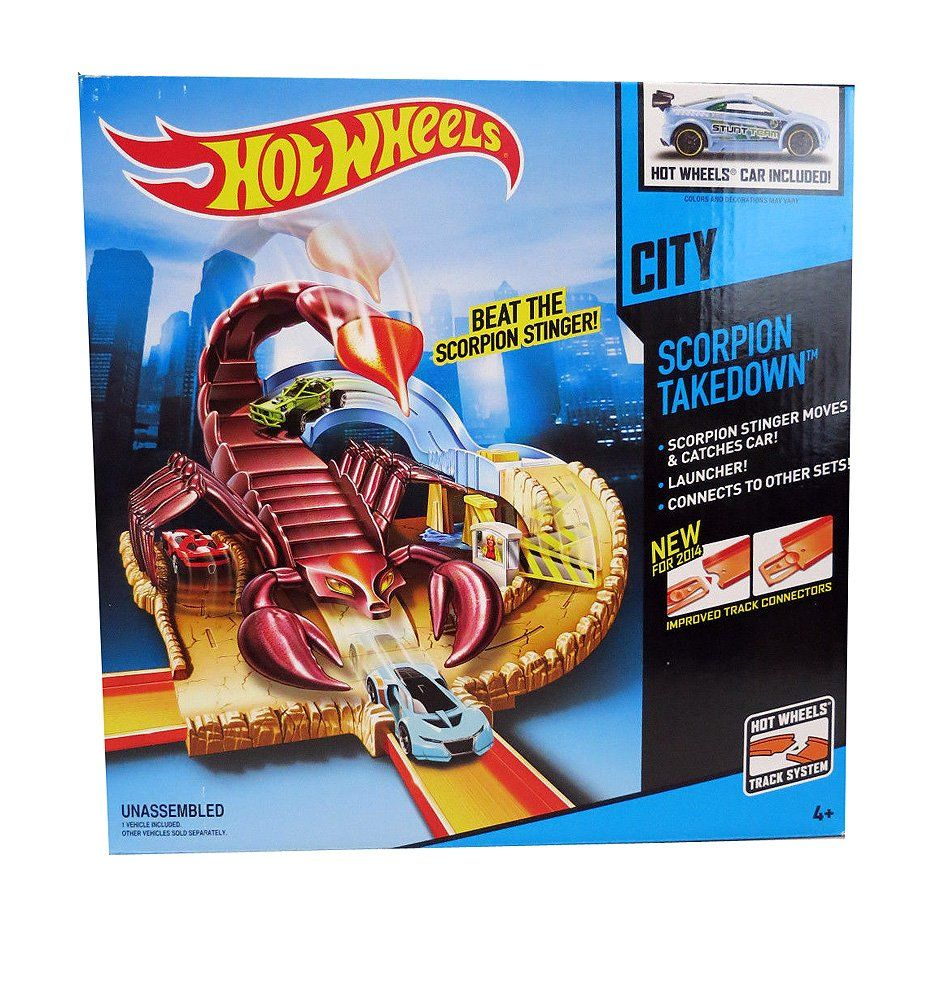 What Is Better Than A Giant Scorpion On Your Tail Getting Stung He Will Play Immediately Folds Into A Handy Hot Wheels Hot Wheels Cars Hot Wheels Garage