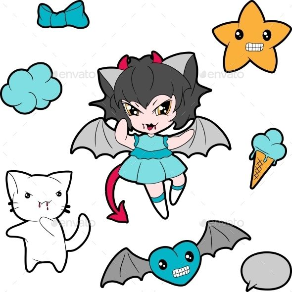 Kawaii Characters by incomible Zip file contains fully editable EPS8 RGB vector file and high resolution pixels RGB Jpeg image. It does not contain gradients, tr