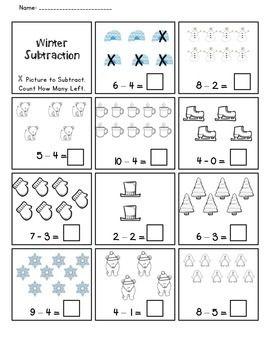 Winter Subtraction Practice Worksheet Freebie Subtraction Practice Subtraction Winter Math Worksheets