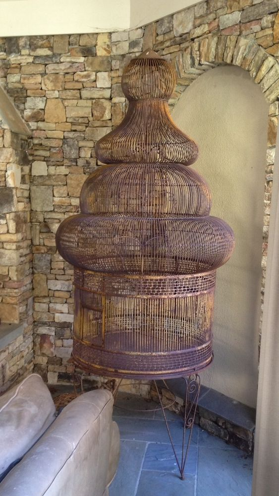 Rare Antique Vintage Iron Victorian Bird Cage & Stand, Can Hang ...