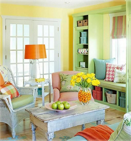 Colorful Living Room Design In Green, Yellow And Orange Color