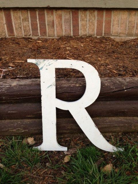 Large Metal Letter R Large Metal Letters  Large Metal Letter R White Sign Reclaimed