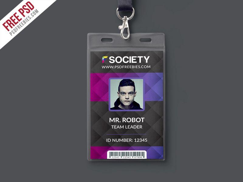 Corporate office id card psd template id card template