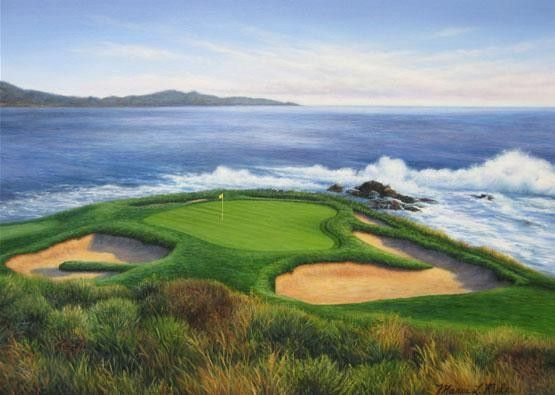 Pebble Beach 7th Hole Golf Course Artwork 100 By Marci Rule Pictures