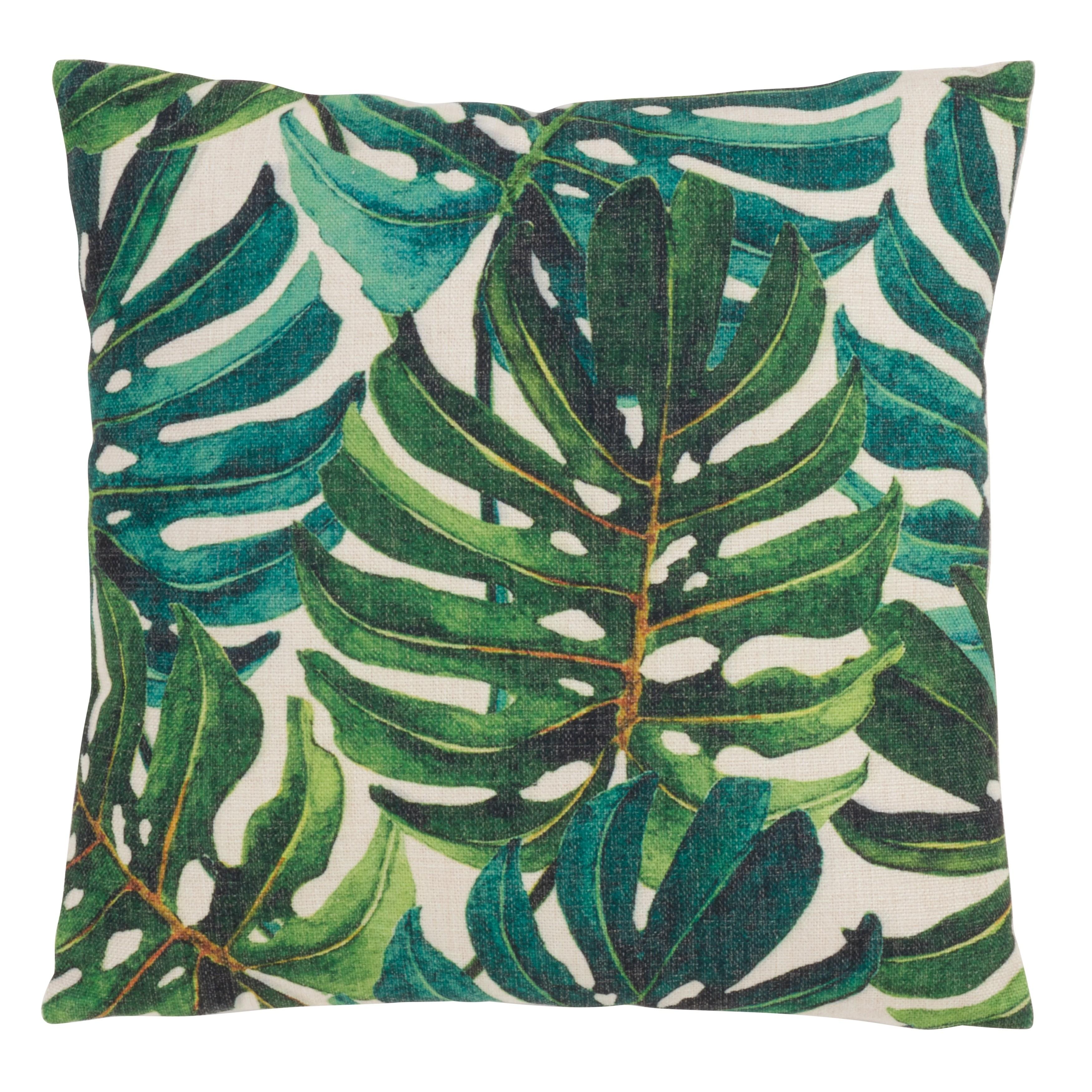 Banana Leaf Print Tropical Throw Pillow