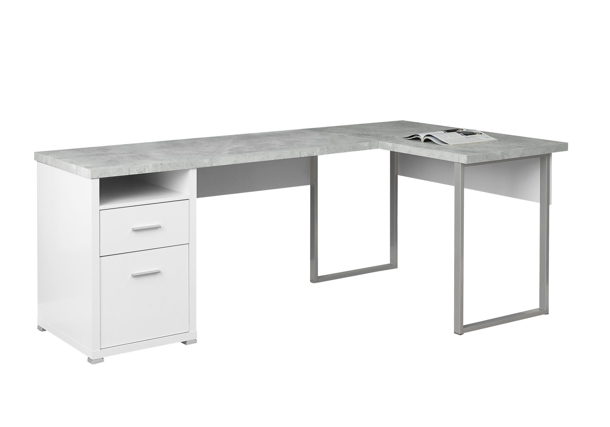 Monarch Specialties White Cement Look L Shaped 80 Computer Desk I