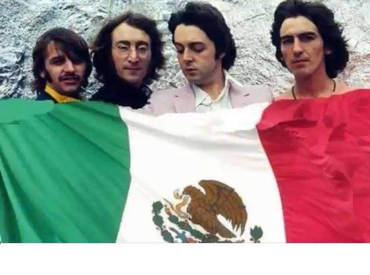 The Beatles with Mexican flag