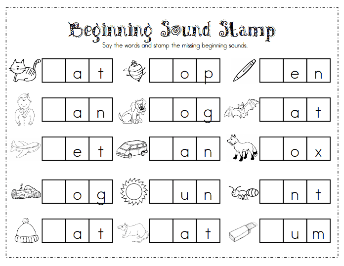 Beginning Sound Stamp.pdf Word work kindergarten
