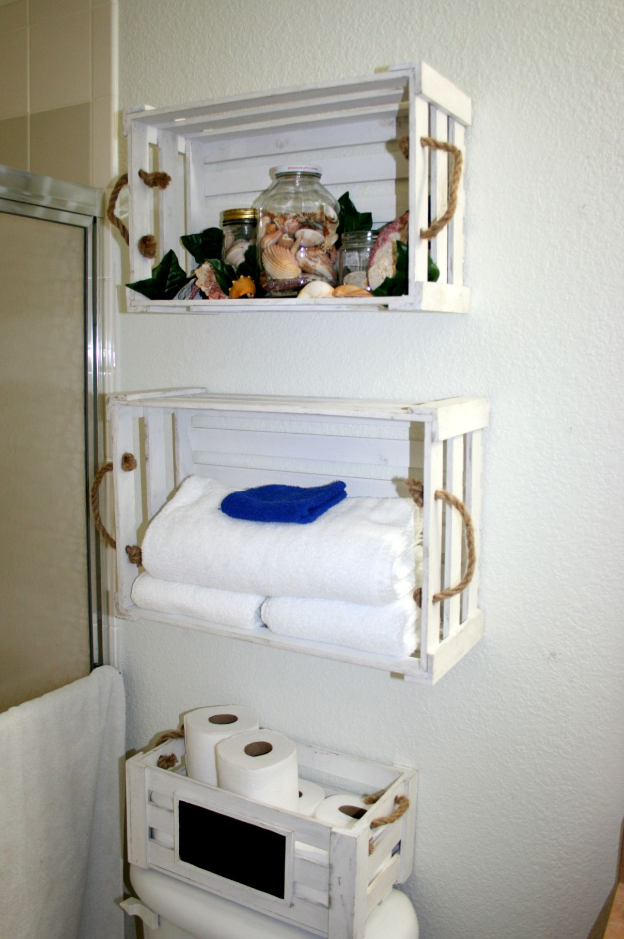 Found These Baskets At Ross And Made Them In Shelves For My Sea Themed  Bathroom