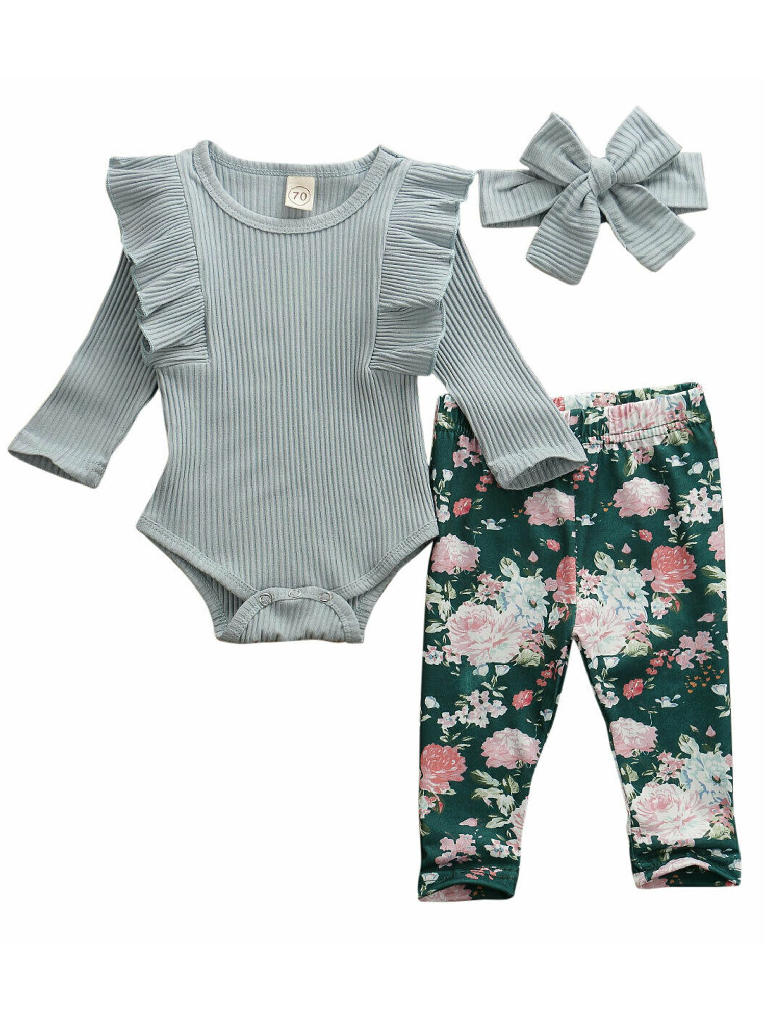 Infant Baby Girl Floral Clothes Toddler Long Sleeve Bodysuit Pants Headband Newborn Romper Outfit Set