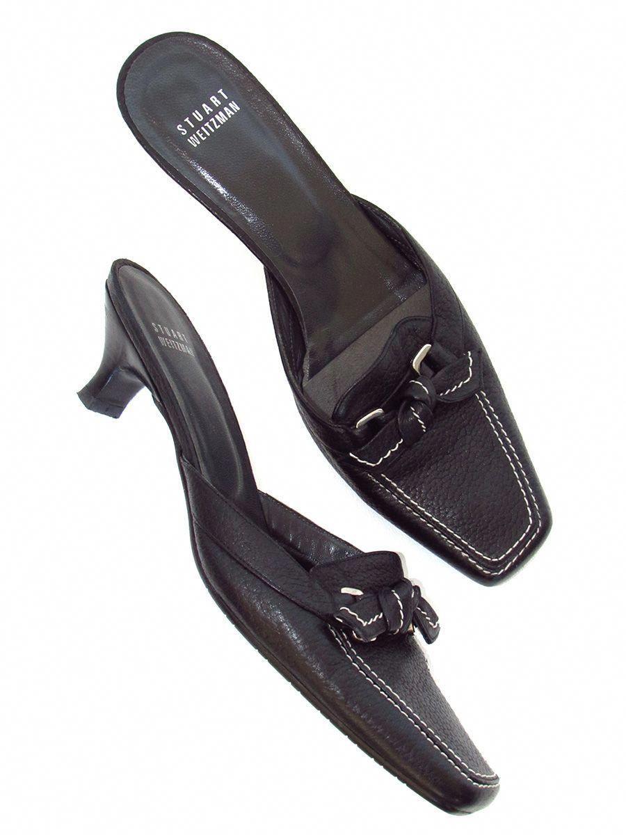 2600faf76ea Stuart Weitzman Black Pebbled Leather Kitten Heel Mules  StuartWeitzman