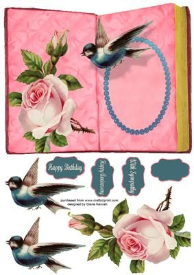 Roses Bird and Lace Book Card on Craftsuprint - View Now!