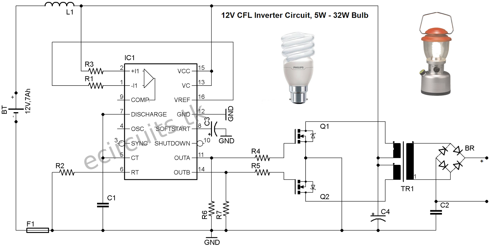 12v Cfl Emergency Light Circuit Using 3525 Ic Mini Inverter 200m Fm Transmitter Electronic Circuits And Diagramelectronics Lighting