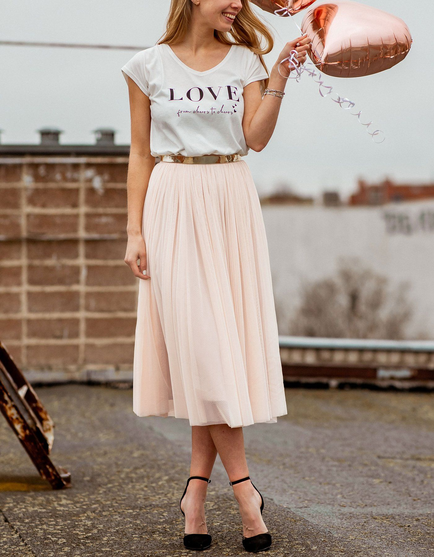 CONSTANT LOVE Tüll Rock Midi Peach Blush