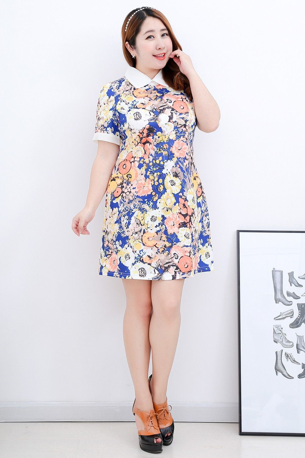 Floral collared shift dress, up to 6xl China size, US$30