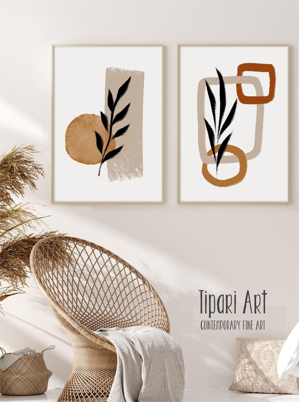 Spring Neutrals Leaf Print Mini Canvas Painting