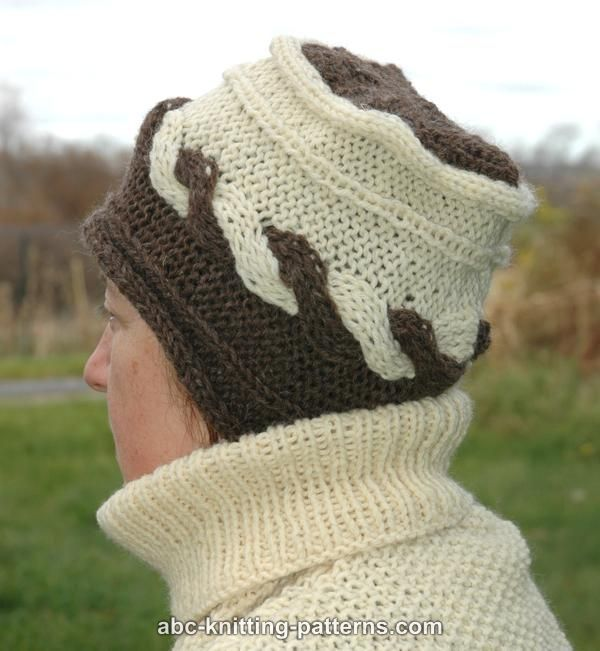 ABC Knitting Patterns - Two-Color Hat with Cable KNITTING Pinterest Kni...
