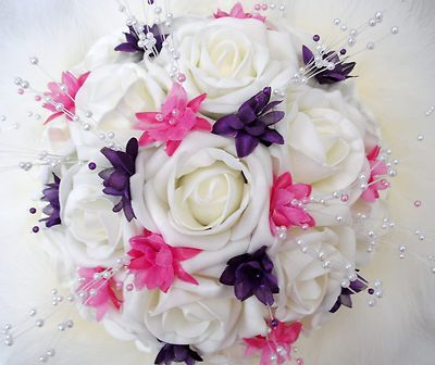 Google Image Result For Weddingsflowersandgiftscouk Purple BouquetsBouquet FlowersBridal BouquetsWedding FlowersHot Pink WeddingsWedding
