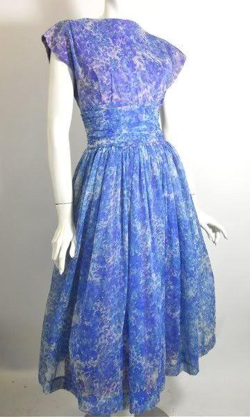 Blue Floral Chiffon Party Dress circa 1960s