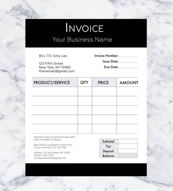Invoice Template Billing Template Photography Invoice - product invoice template