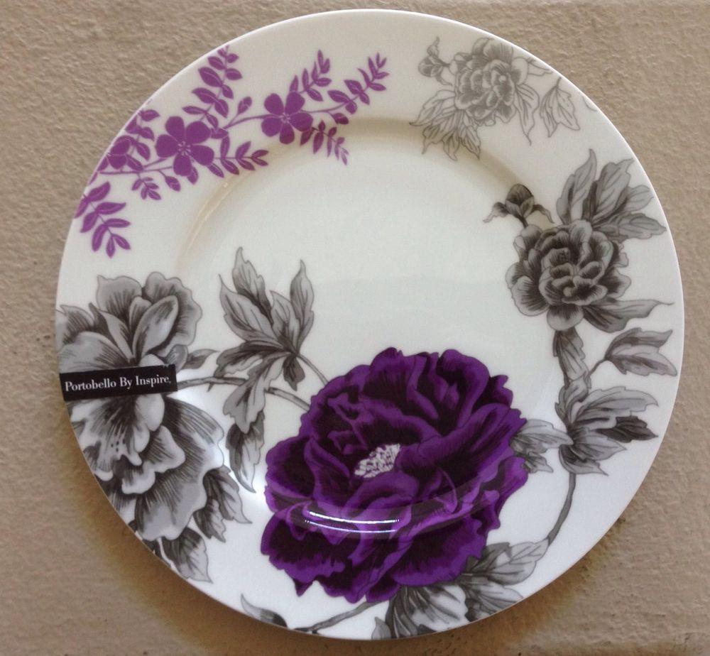 Portobello By Inspire Dinner Plate Set Of 4 Fine Bone China Dk Purple Flowers & Portobello By Inspire Dinner Plate Set Of 4 Fine Bone China Dk ...
