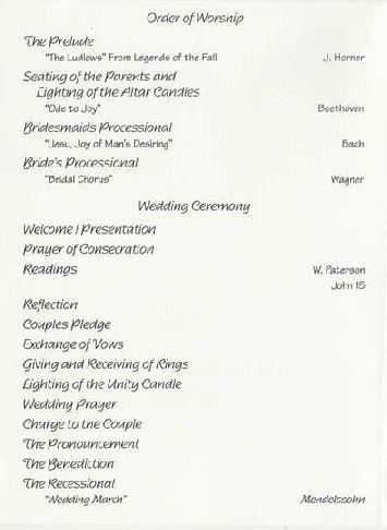 Sample Wedding Reception Program