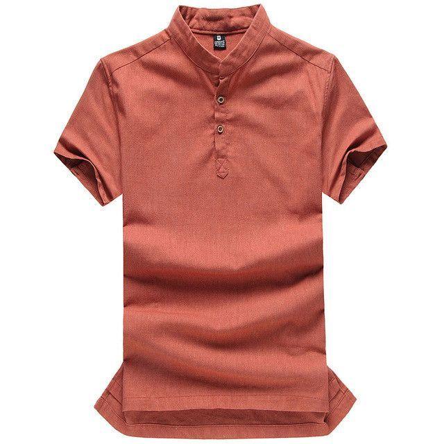 Asian fashion mens pullover shirt for summer long sleeve linen shirts collarless shirt men manga