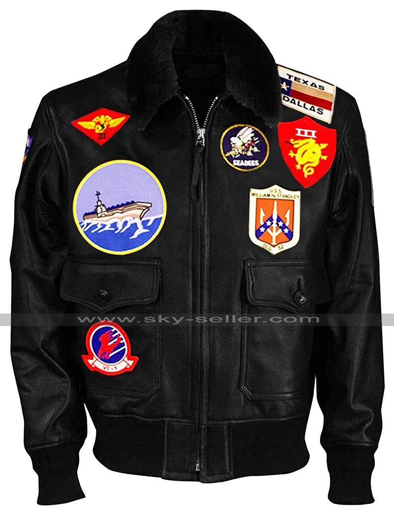 Pin On Top Gun Maverick Bomber Biker Leather Jacket [ 1048 x 800 Pixel ]