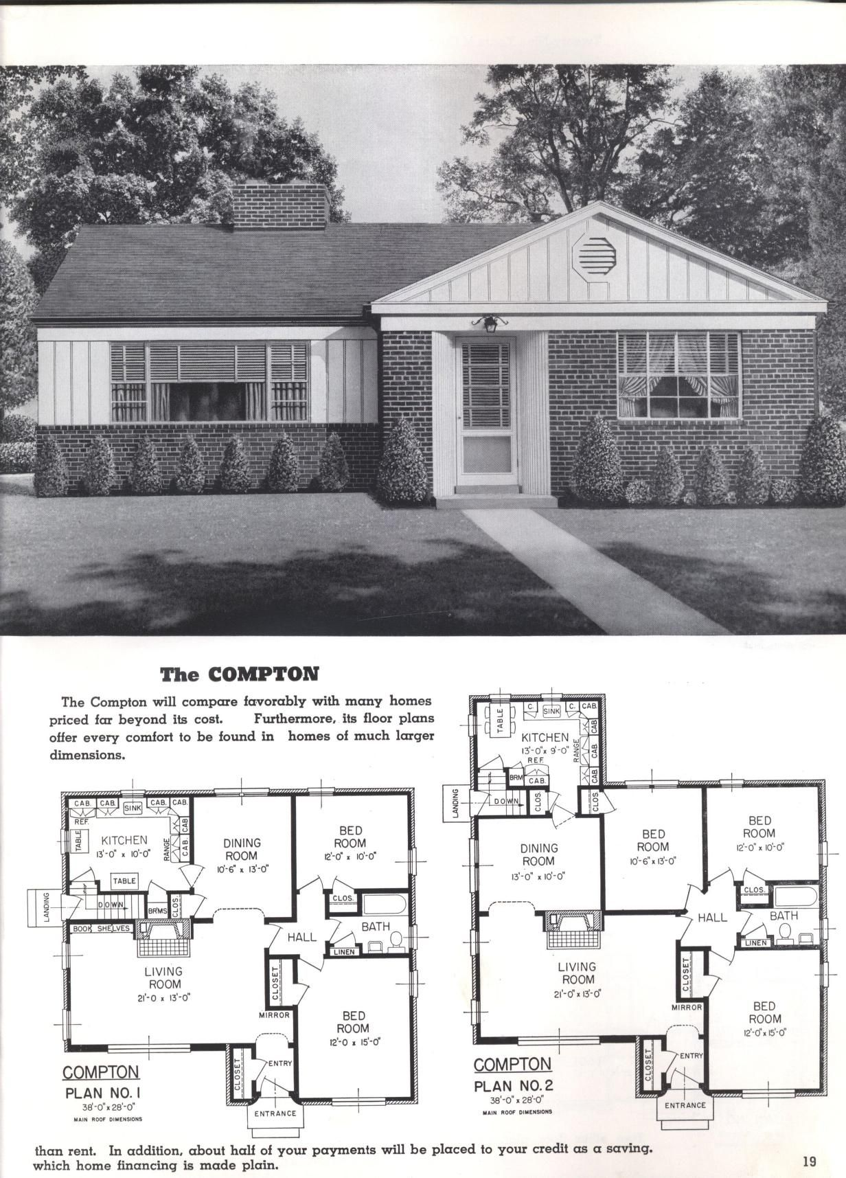 Better Homes At Lower Cost A 50 By Standard Homes Co Publication Date 1950 The Compton Vintage House Plans Bungalow House Plans Better Homes