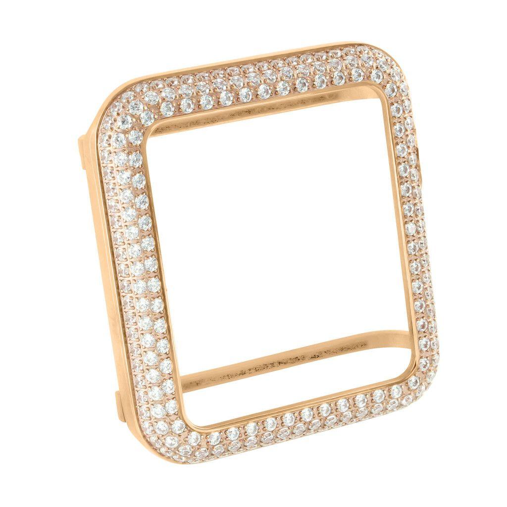 38mm Rose Gold Finish Lab Diamond Apple Watch Bezel Dazzle Guard Coating Masterofbling