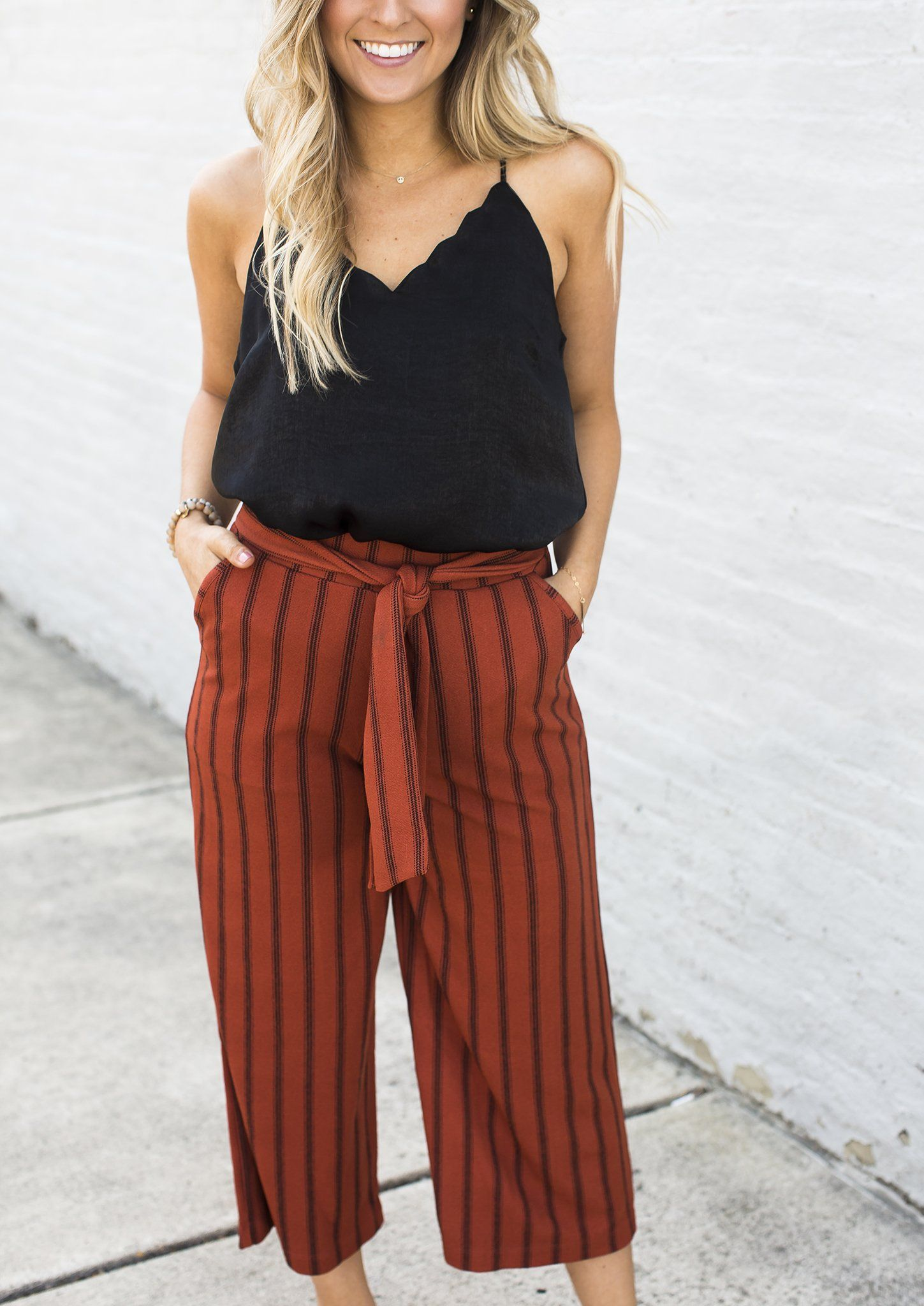 abdaab6d207a97 Rust Black Striped Cropped Pants in 2019