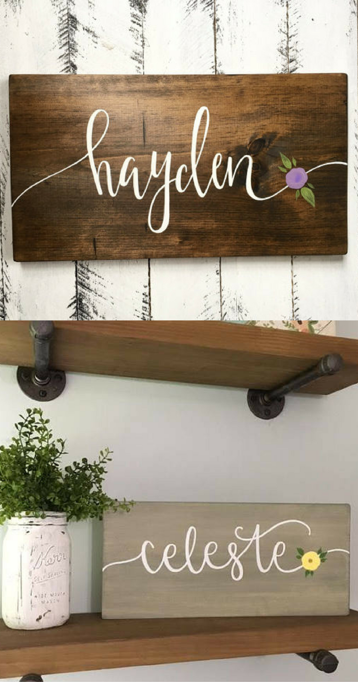 Custom Name Sign With Flower Baby Girl Nursery Room Decor Shower Gift New Mom Idea Grandmother Dorm Bedroom Wall Art