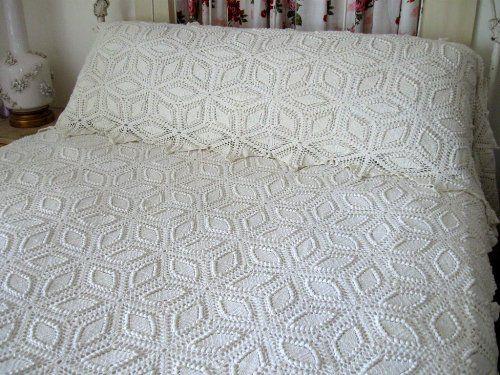 Crochet Vintage Spread Pillow Layover Popcorn Antique Coverlet Set ...