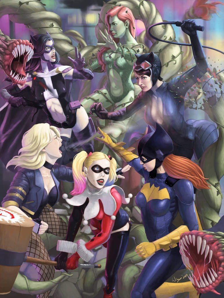 Gotham City Sirens Vs Birds Of Prey By Wingwingwingwing On Deviantart Gotham City Gotham Batman Fan Art