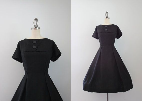 1950s Dress / Vintage 50s Silk Blend Dress / by HolliePoint, $58.00