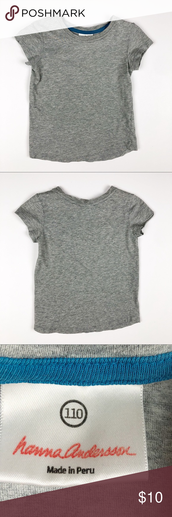 Hanna Andersson Basic Pima Cotton Tee This is a great basic tee that pairs well with many colors, looks, and patterns. It is the perfect staple piece for a little girl's wardrobe. It is in very good condition, just slight signs of wash and wear. Size 110 or 5.  Hanna Andersson Shirts & Tops Tees - Short Sleeve