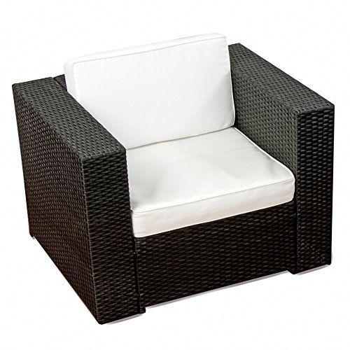 1er) Polyrattan Lounge Möbel Sessel schwarz - Gartenmöbel (1er