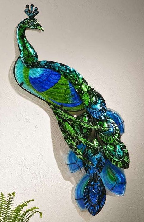 New turquoise blue peacock plaque garden home decor sculpture nature accent art peacocks - Outdoor peacock decorations ...