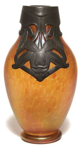Loetz Vase Swollen Form In Iridescent Glass Pewter Overlay At Top