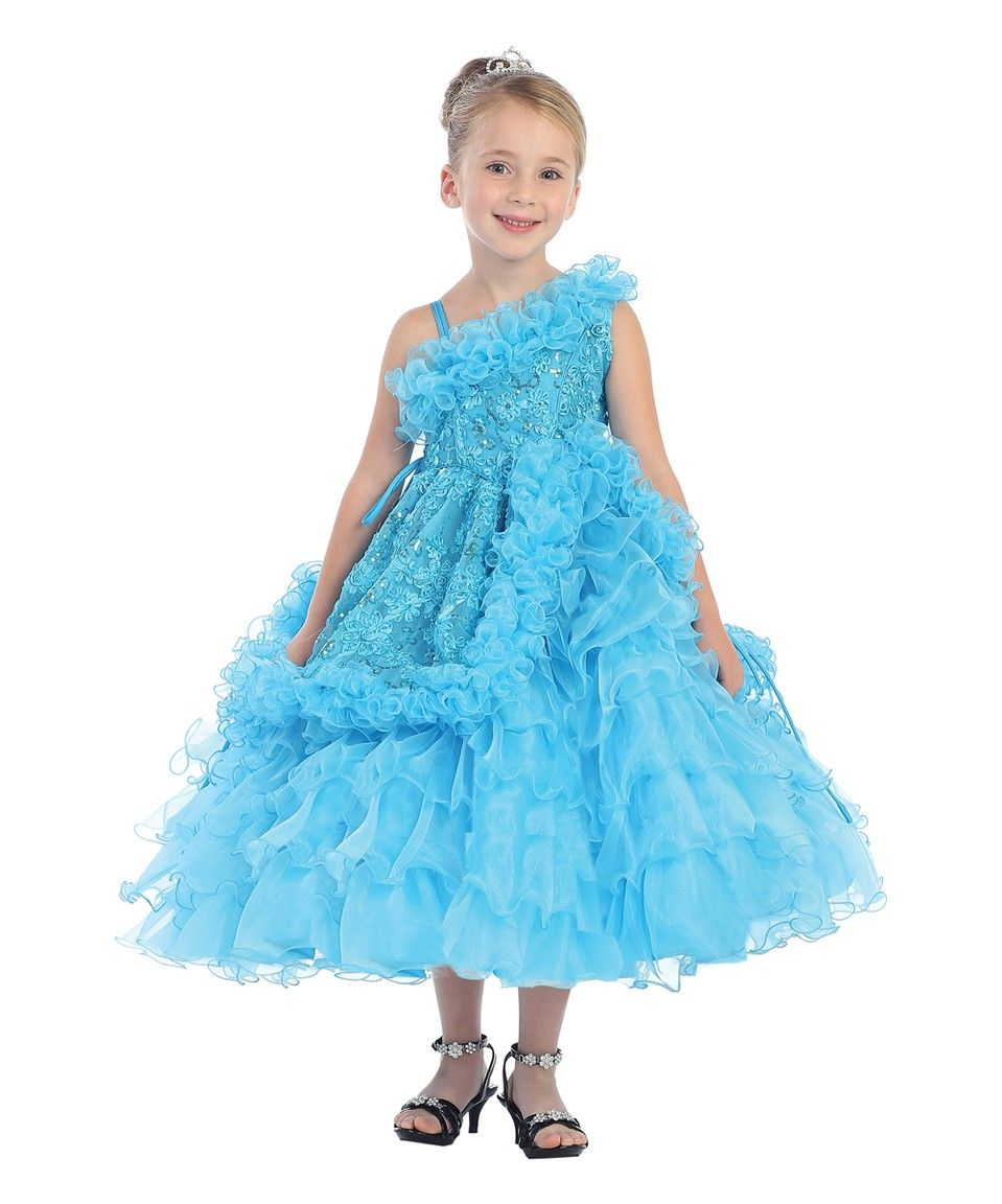 Flower Toddler girl dresses turquoise pictures